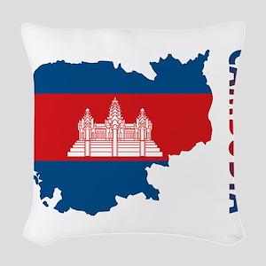 Map Of Cambodia Woven Throw Pillow