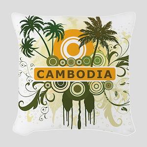 Palm Tree Cambodia Woven Throw Pillow