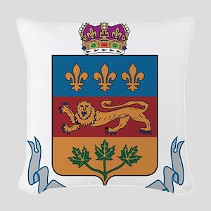 Quebec Coat Of Arms Woven Throw Pillow