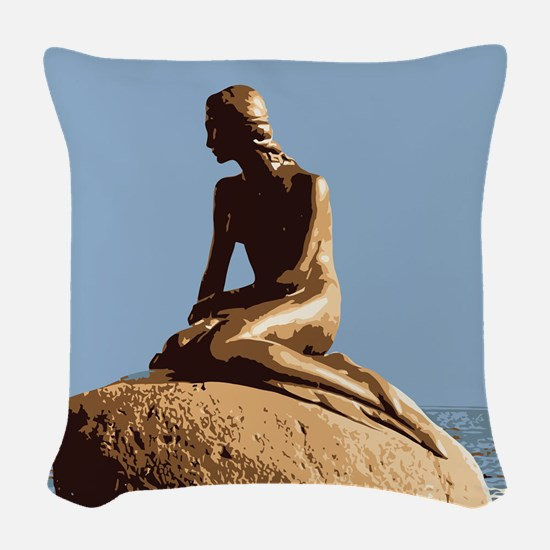 Denmark Little Mermaid Woven Throw Pillow