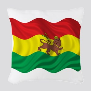 Wavy Ethiopia Flag Woven Throw Pillow