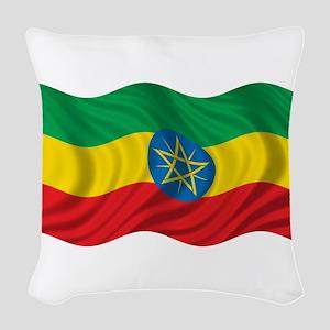 Wavy Ethiopia Flag Woven Throw Pillow