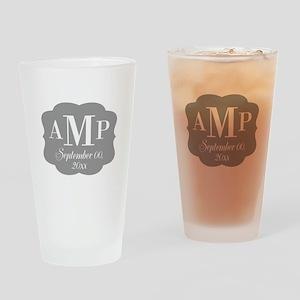 Modern Wedding Monogram Drinking Glass