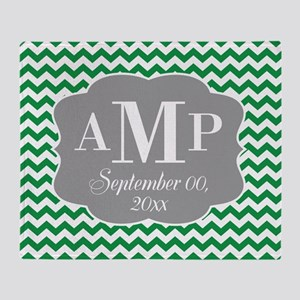 Modern Wedding Chevrons - green gray Throw Blanket