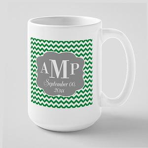 Modern Wedding Chevrons - green gray Mug