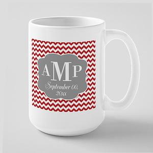 Monogram Chevrons Wedding - red Mug