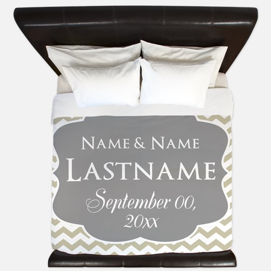 Chevrons for a Wedding - linen King Duvet