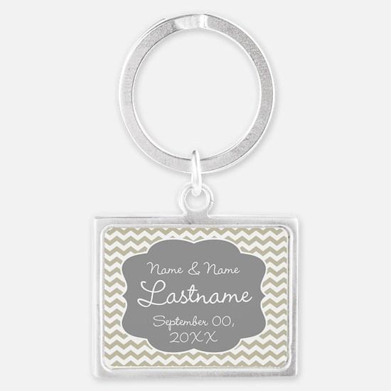 Chevrons for a Wedding - beige Keychains