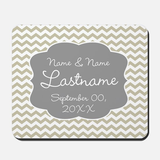Chevrons for a Wedding - beige Mousepad
