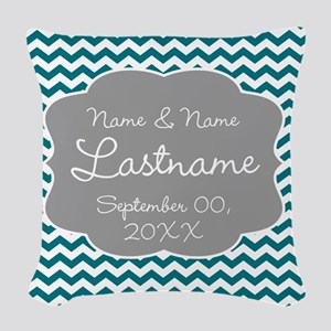 Wedding or Anniversary Chevrons Woven Throw Pillow