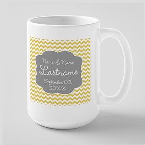 Wedding or Anniversary Chevrons yellow Mug