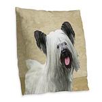 Skye Terrier Burlap Throw Pillow