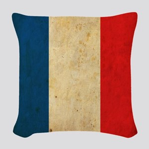 Vintage France Flag Woven Throw Pillow