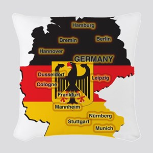 Germany Map Woven Throw Pillow