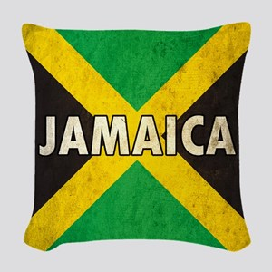 Jamaica Grunge Flag Woven Throw Pillow