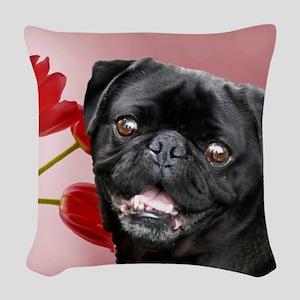 Easter pug a Woven Throw Pillow