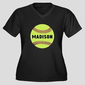 Softball Per Women's Plus Size V-Neck Dark T-Shirt