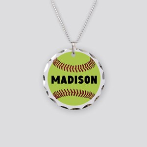 Softball Personalized Necklace Circle Charm