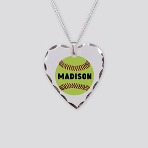 Softball Personalized Necklace Heart Charm