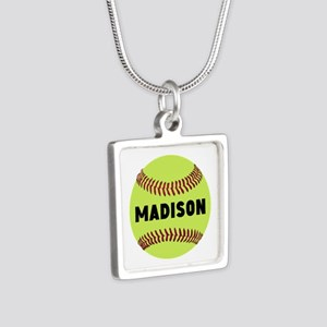 Softball Personalized Silver Square Necklace