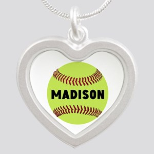 Softball Personalized Silver Heart Necklace