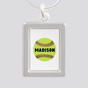 Softball Personalized Silver Portrait Necklace
