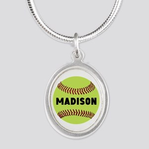 Softball Personalized Silver Oval Necklace