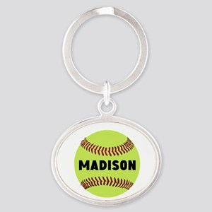 Softball Personalized Oval Keychain