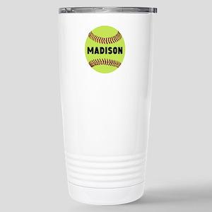 Softball Personal 16 oz Stainless Steel Travel Mug
