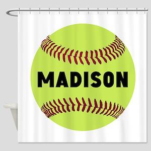 Softball Personalized Shower Curtain