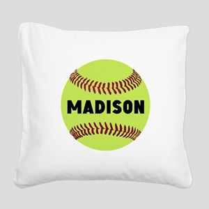 Softball Personalized Square Canvas Pillow