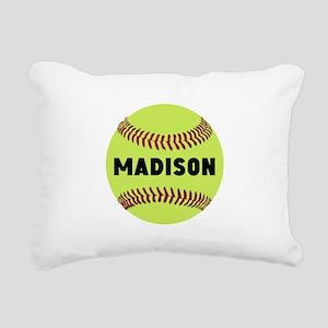 Softball Personalized Rectangular Canvas Pillow