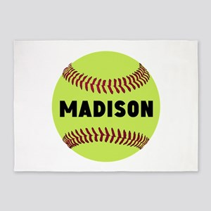 Softball Personalized 5'x7'Area Rug