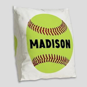 Softball Personalized Burlap Throw Pillow