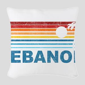 Retro Palm Tree Lebanon Woven Throw Pillow
