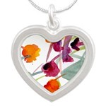 Atom Flowers #24 Silver Heart Necklace