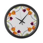 Atom Flowers Large Wall Clock