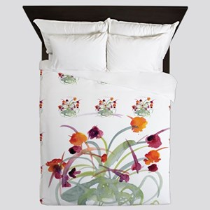 Atom Flowers Queen Duvet