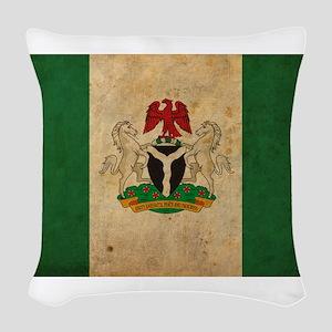 Vintage Nigeria Flag Woven Throw Pillow
