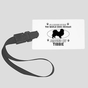 Tibbie dog funny designs Large Luggage Tag
