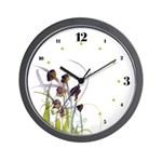 Atom Flowers #2 Wall Clock with hours