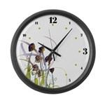 Atom Flowers #2 Large Wall Clock with hours