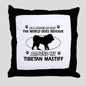 Tibetan Mastiff dog funny designs Throw Pillow