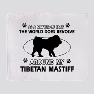 Tibetan Mastiff dog funny designs Throw Blanket
