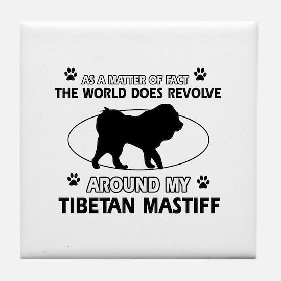 Tibetan Mastiff dog funny designs Tile Coaster