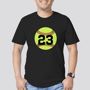 Softball Number Person Men's Fitted T-Shirt (dark)