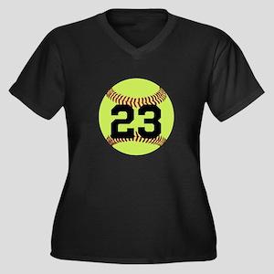 Softball Num Women's Plus Size V-Neck Dark T-Shirt