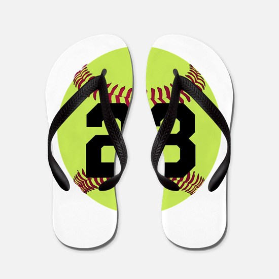 Softball Number Personalized Flip Flops