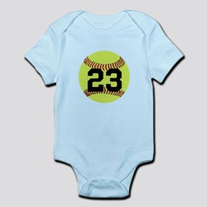Softball Number Personalized Infant Bodysuit
