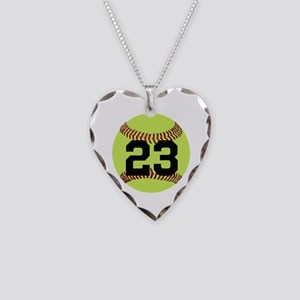 Softball Number Personalized Necklace Heart Charm